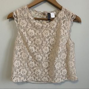 Divided Lace Crop Top